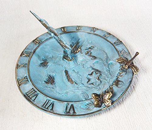 Brass Hummingbird Birdbath Birdfeeder Sundial Multi-function - With 1 Little Butterfly 1 Little Dragonfly