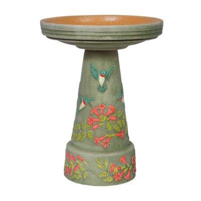 Burley Clay Hummingbird Bird Bath Set