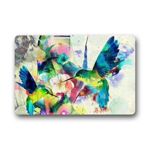 Fantastic Doormat Abstract Art Colorful Bird Hummingbird Flower Door Mat Rug Indooroutdoorfront Doorbathroom