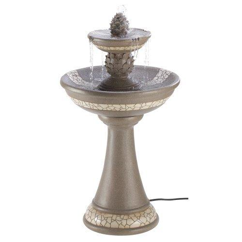 Large Mosiac Courtyard Yard Bird Bath Outdoor Garden Patio Water Fountain Pump