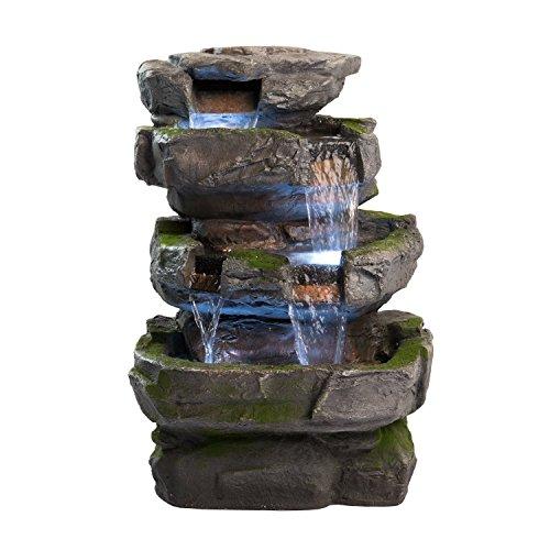 Wilson Rock Fountain Stunning Outdoor Water Feature For Gardensamp Patios Weather Resistant Wled Lightsamp Pump