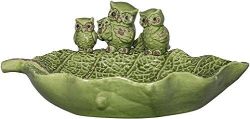 Whimsical Ceramic Bird Feeder with Owl Design Green