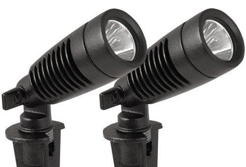 Moonrays 95557 1-watt Led Outdoor Landscape Metal Spot Light Fixture Low Voltage Black 2-pack
