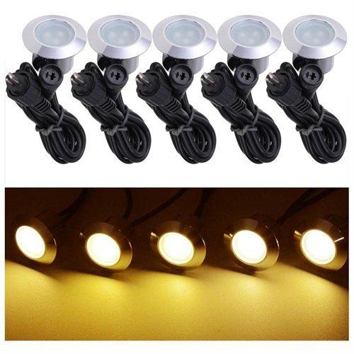5 Pack 12v LED Recessed Deck Lighting Fixture Color Warm White