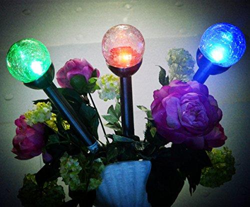 3Pack 3Color Crackle Glass Globe Solar LightSolar Pathway Light Solar Led Light
