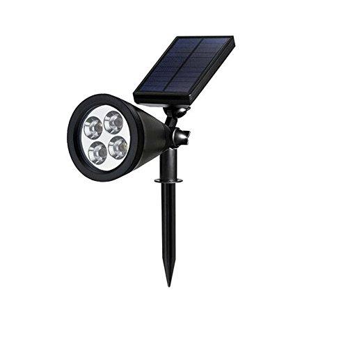 Erlvery DaMain Solar Lights 2-in-1 Waterproof 4 LED Spotlight Outdoor Landscape Lighting Adjustable Wall Light Dark Sensing Auto OnOff(1 Pack)