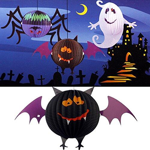 Funny LED Halloween Bat Lanterns Paper Lamp Home Garden Decorations