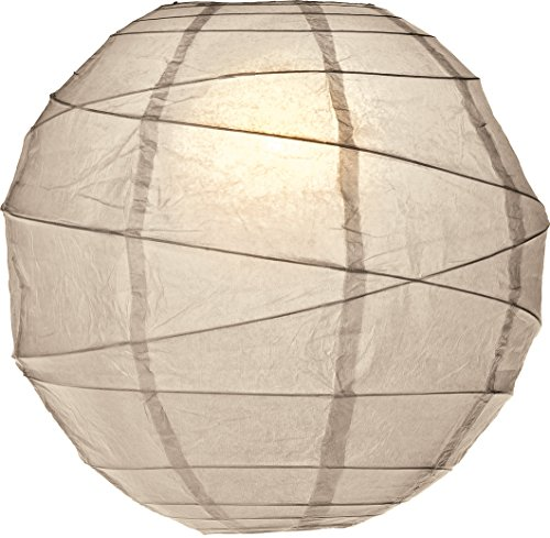 Luna Bazaar Premium Paper Lantern Clip-On Lamp Shade 14-Inch Feather Grey - ChineseJapanese Hanging Decoration - For Parties Weddings and Homes