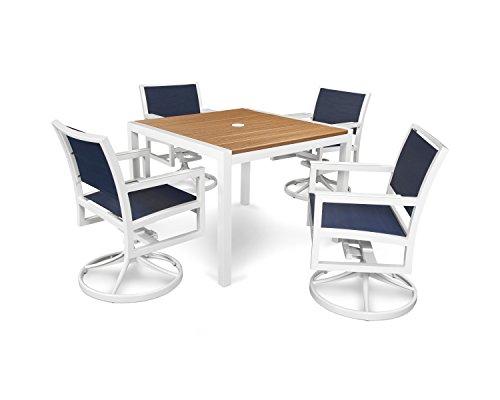 Trex Outdoor Furniture Parsons 5-piece Swivel Rocker Dining Set In Satin White  Tiki Torch  Sapphire