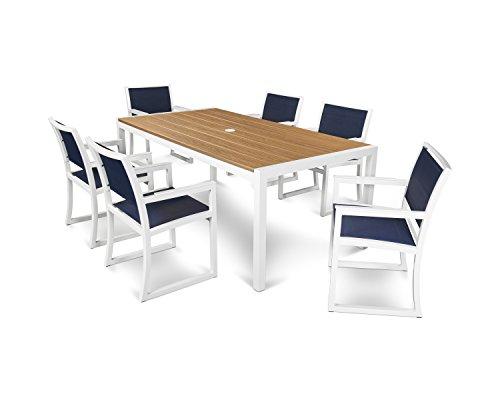 Trex Outdoor Furniture Parsons 7-piece Arm Chair Dining Set In Satin White  Tiki Torch  Sapphire