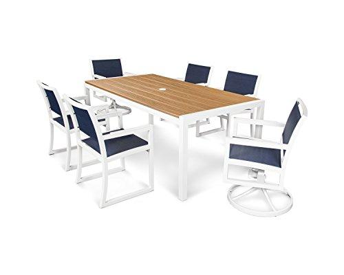 Trex Outdoor Furniture Parsons 7-piece Dining Set In Satin White  Tiki Torch  Sapphire