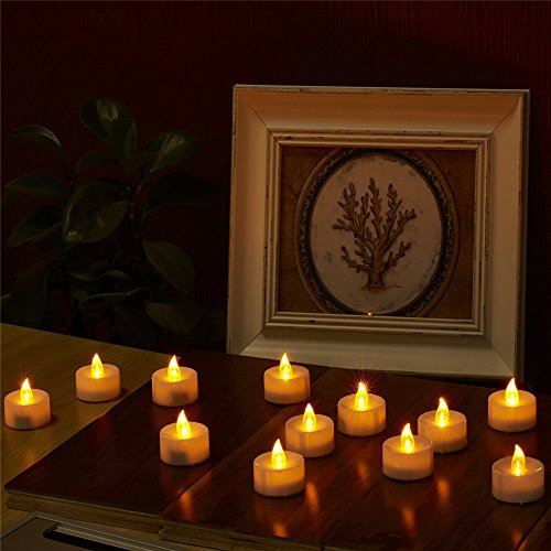 LED Flikering Tealight Candles AGPTEK 6 Pack Flickering Flashing Flameless LED Tealight CandlesBattery Operated smokeless for Indoor Outdoor WeddingParty Decorations - Amber Yellow