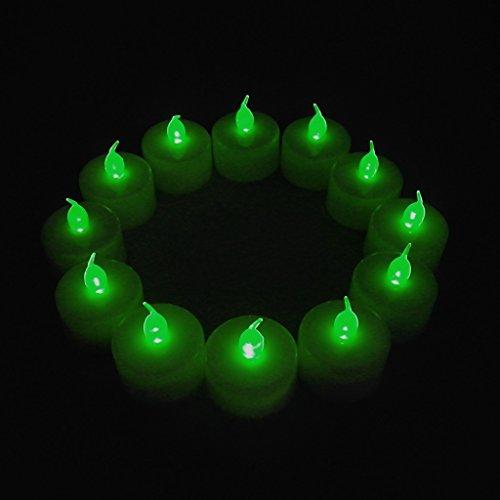 12-packs Green Led Plastic Tea Tealight Candles Lamp Flameless Shine Anniversary Wedding Party Restaurant Atmosphere