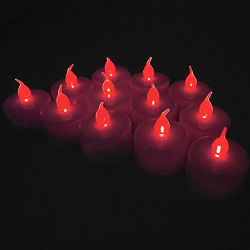 12-packs Red Led Plastic Tea Tealight Candles Lamp Flameless Shine Anniversary Wedding Party Restaurant Atmosphere