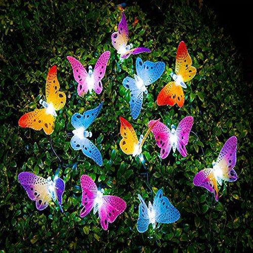 Image&reg Butterfly Solar String Lights Decorative Multi-color Beautiful Animal Design Light 20 Led For Garden Lawn