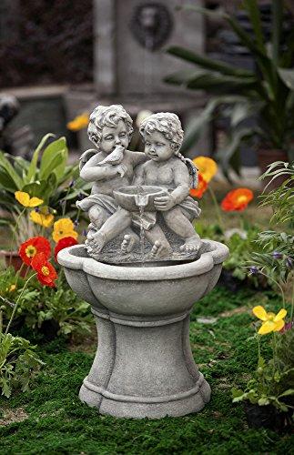 307&rdquo Led Lighted Charming Cherubs And Bird Outdoor Patio Garden Water Fountain