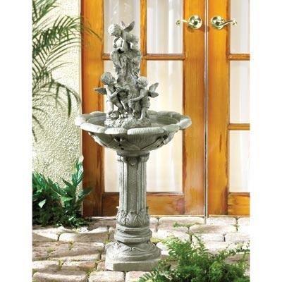 Classic Roman Style Outdoor Cherub Angel Fairies Fountain Faux Granite Finish