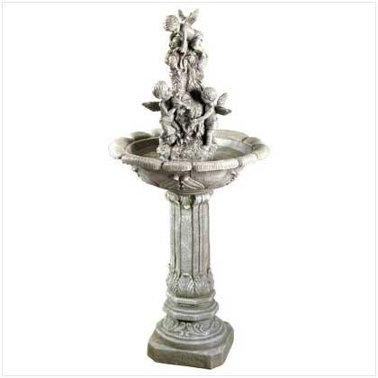 Koehlerhomedecor Outdoor Decorative Accent Cherub Garden Fountain