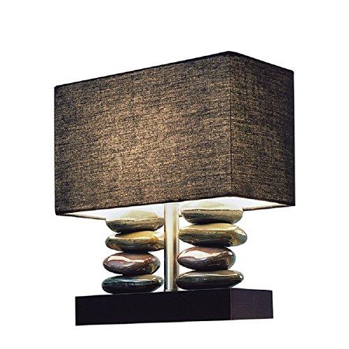 Elegant Designs Rectangular Dual Stacked Stone Ceramic Table Lamp and Black Shade