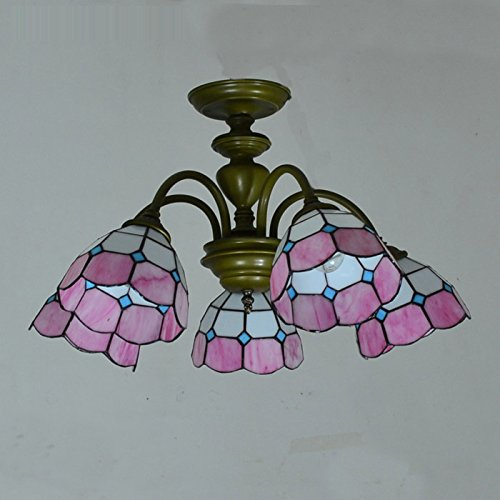 Tiffany Living Room Meeting Room Chandeliers Mediterranean Style 5 Heads Restaurant Pendant Lights Bedroom Ceiling LampsPink