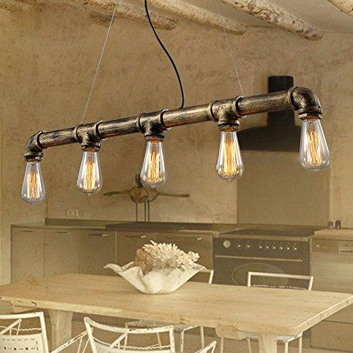 Vintage Pendant Lights Water Pipe Pendant Lamp with 5pcs E27 Edison Bulbs Bronze Color Antique Lighting 110v220v