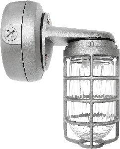 RAB Lighting VXBR1F26B Vaporproof Wall Bracket CFL Lamp with Clear Prismatic Glass Globe Triple Type Aluminum 26W Power 1800 Lumens 277V 12 Hub Black