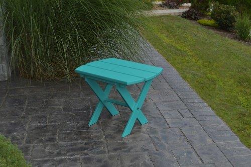 POLY Furniture Oval End Table - Amish Made USA - Aruba Blue