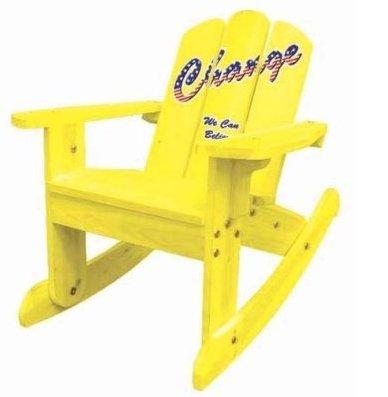 Kids Adirondack Wooden Rocking Chair in Yellow