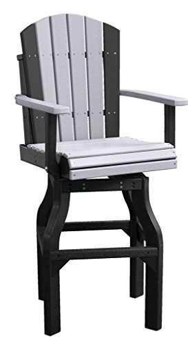 Set Of 2 Bar Height Outdoor Poly Adirondack Swivel Chairs - weatherwoodblack Color