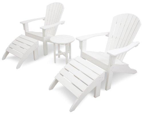 Ivy Terrace IVS117-1-WH Classics 5-Piece Shell Back AdirondackOttoman Set White