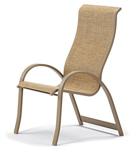 Telescope Casual Furniture Aruba II Sling Collection Supreme Stacking Aluminum Arm Chair Bark Aged Bronze Finish