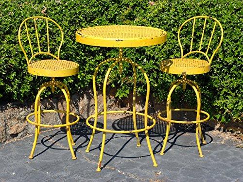 Metal Nostalgia French Bistro Garden Table and Chair Set 3 Pieces Yellow