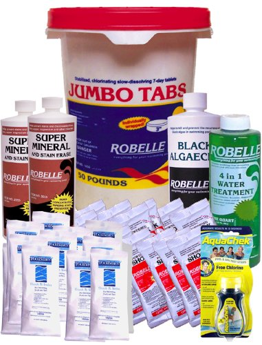 Robelle 3&quot Chlorine Tablets Clarifier Super Mineral Black Algaecide Shock Clarifier Swimming Pool Chemical