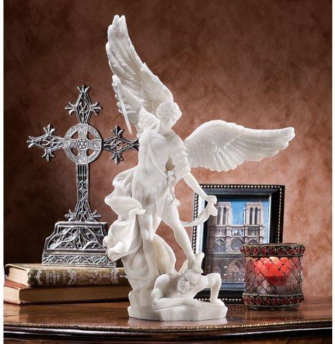 Design Toscano Bonded Marble St Michael The Archangel Angel Statue