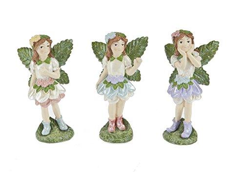 Ganz 3 Pc Miniature Fairy Statues with Flower Petal Skirts