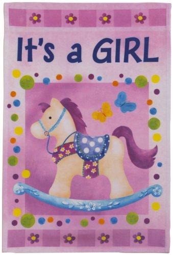 Its a Girl Lawn Flag - Pink Rocking Horse - Ganz Garden Accents Garden Flag 12 x 18 Inch