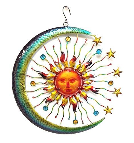 Bejeweled Display&reg Large Sun Face Staramp Moon W Glass Wall Art Plaqueamp Home Decor