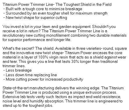 PART NO A-B142155 Titanium Power Trimmer Line 155 square