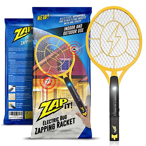 Zap-It 2000 Volt 3-Layer Mesh USB Rechargeable Electric Bug Zapper Racket with LED Light