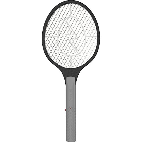 BugzOff Electric Fly Swatter Racket - Best Zapper for Flies - Swat Insect Wasp Bug Mosquito with Hand - Indoor and Outdoor Trap and Zap Pest Control Killer Black  black