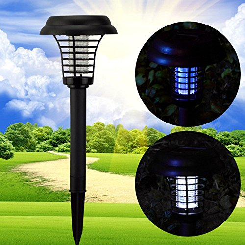 2 in 1 Zapper and Light- LED Solar Powered Outdoor Electronic Bug Zapper Light Pest Control Mosquito and Fly Killer Garden Lamp 041
