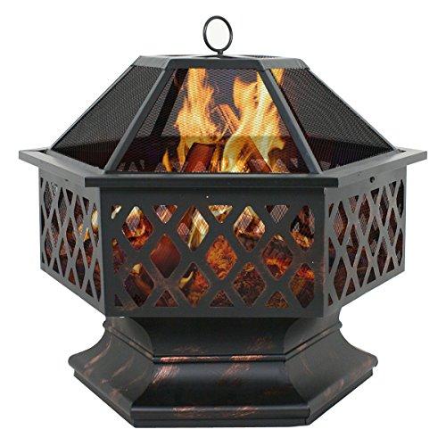 Zeny Fire Pit Hex Shaped Fireplace Outdoor Home Garden Backyard Firepit,oil Rubbed Bronze (bronze)