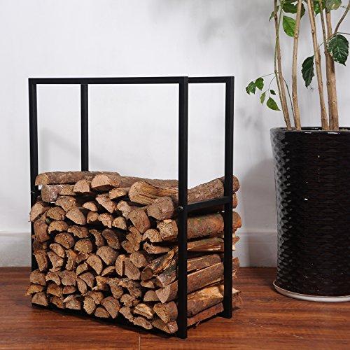 Black Metal Powder Coated Finish Fire Wood Holder Rack  Indoor Outdoor Fireplace Log Bin - MyGiftÂ