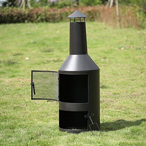 IKAYAA  Garden Fire Pit Outdoor Chimaera Backyard Fireplace With Ash Tray and Poker X-Large