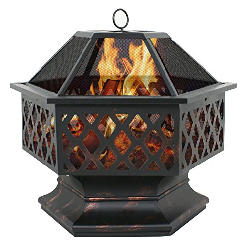 Zeny Fire Pit Hex Shaped Fireplace Outdoor Home Garden Backyard Firepitoil Rubbed Bronze bronze