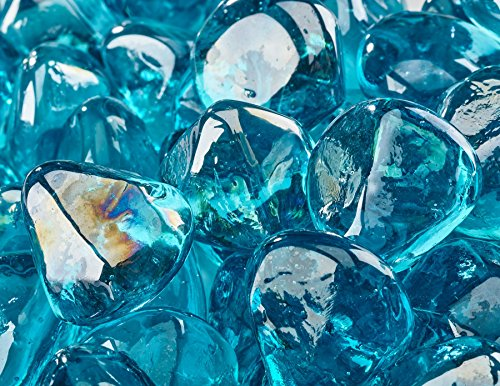 1 Diamond Shaped Fire Glass for Indoor or Outdoor Fire Pit or Fireplace 10 Pounds Tahitian Blue