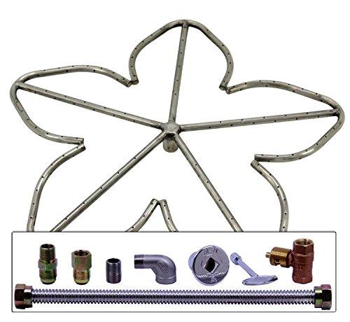 Spotix Penta Hpc Match Lit Fire Pit Burner Kit 24-inch Burner Natural Gas Polished Chrome