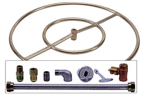 Spotix Round Hpc Match Lit Fire Pit Burner Kit 24-inch Burner Natural Gas Polished Chrome