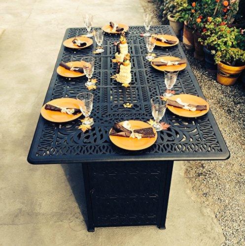 Outdoor Propane Fire Pit Bar Height Double Burner Table Elisabeth Cast Aluminum Patio Furniture