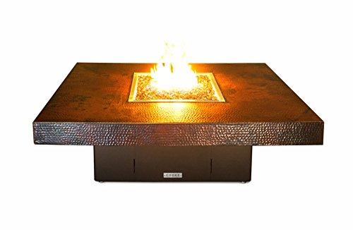Hammered Copper Santa Barbara Rectangular Fire Pit Table - 48 X 36 X 18-propane-black